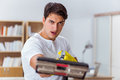The man husband cleaning the house helping wife Royalty Free Stock Photo