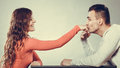 Man husband kissing woman hand love couple polite women palm good happy relationship concept instagram filtered Stock Images