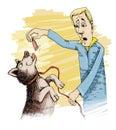 Man and husky dog Royalty Free Stock Photos