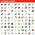100 man icons set, isometric 3d style