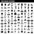 100 man icons set, simple style