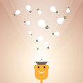 Man with ideas vector illustration of cartoon light bulbs pouring inside his brain Royalty Free Stock Image