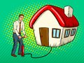 Man inflate house pop art vector illustration Royalty Free Stock Photo