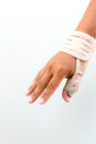 Man injury hand finger medicine bandage on Royalty Free Stock Photography