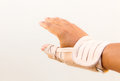 Man injury hand finger medicine bandage on Royalty Free Stock Photos