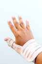 Man injury hand finger medicine bandage on Stock Photos