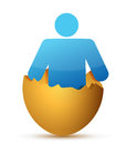 Man inside cracked eggshell Stock Images