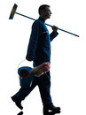 Man janitor cleaner cleaning silhouette Royalty Free Stock Photo