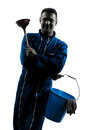 Man janitor plumber silhouette one caucasian cleaner cleaning in studio on white background Royalty Free Stock Photography