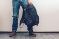 Man in jeans with backpack Royalty Free Stock Photo