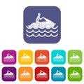Man on jet ski rides icons set Royalty Free Stock Photo