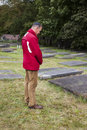 Man by jewish cemetery in the hague Royalty Free Stock Photography