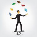 Man juggling books Stock Images