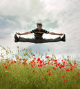 Man jump to sky. Royalty Free Stock Photo