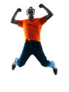 Man jumping happy silhouette isolated Royalty Free Stock Photo
