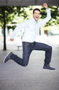 Man jumping with joy portrait of excited Stock Photography