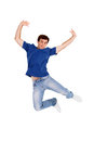 Man jumping on white background Stock Photo