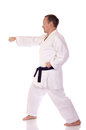 Man karate gi doing punch Stock Photos
