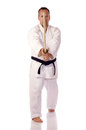 Man karate gi holding boken Stock Photo