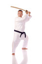 Man karate gi holding boken Royalty Free Stock Photos