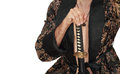Man with katana in kimono sword over white Royalty Free Stock Photos