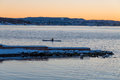 A man kayaking in Oslo fjord in winter, Norway Royalty Free Stock Photo