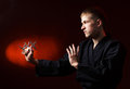Man in kimono with shuriken Stock Photography