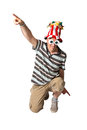 Man on knees brazilian ready for party wearing costumes white background Royalty Free Stock Images