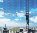 A man in a ladder is climbing up to the success in his career in finance.