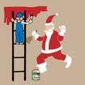 Man on ladder painting Santa Royalty Free Stock Photo