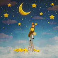 Man on a ladder reaching for  stars Royalty Free Stock Photo