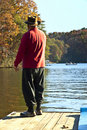 Man/ Lake /Fishing Royalty Free Stock Photography