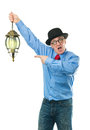 Man with lamp attractive a lantern in his hand Royalty Free Stock Image