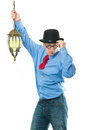 Man with lamp attractive a lantern in his hand Royalty Free Stock Images