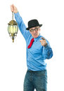 Man with lamp attractive a lantern in his hand Stock Photos