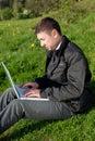Man with a laptop Stock Photos