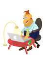 Man with laptop a sits on a chair and typing text on Royalty Free Stock Photos