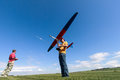 Man launches into the sky RC glider Stock Images