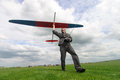 Man launches into the sky RC glider Stock Photo