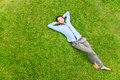 Man laying on a grass Royalty Free Stock Photo