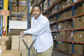 Man leaning on trolley in warehouse portrait of a content worker distribution Royalty Free Stock Photo