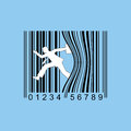Man leaning up against bar code Stock Image