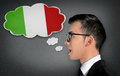 Man learn speaking italian Royalty Free Stock Photo