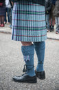 man legs with scottish kilt in the street Royalty Free Stock Photo