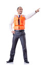 Man in life jacket isolated on white Stock Photos