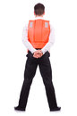 Man in life jacket isolated on white Royalty Free Stock Photography