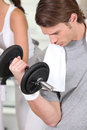 Man lifting a dumbbell Royalty Free Stock Photo