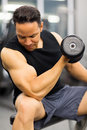 Man lifting dumbbell muscular heavy in gym Stock Photo