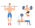 Man lifting heavy weight barbell sport gym people vector. Royalty Free Stock Photo
