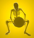 Man lifting a weight x ray on yellow background Stock Photos